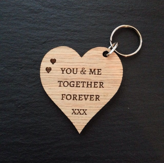 Wooden Heart You & Me Together Forever Keyring, Mother's Day Gift